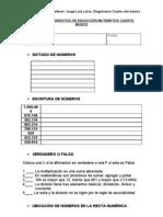 Prueba de Diagnostico de Educacion Matematica Cuarto Basico