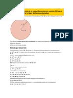 Obtener la Ecuación de la circunferencia con centro