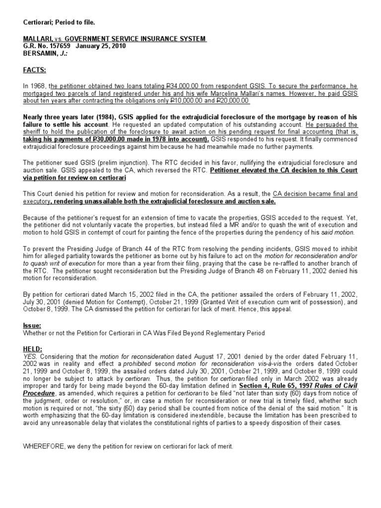 Rem Case Digest Certiorari Foreclosure
