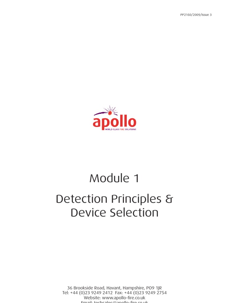 Pp2160 Module 1 Detection Principles Amp Device Selection Issue 3 Apollo Xp95 Smoke Detector Wiring Diagram Electrochemistry