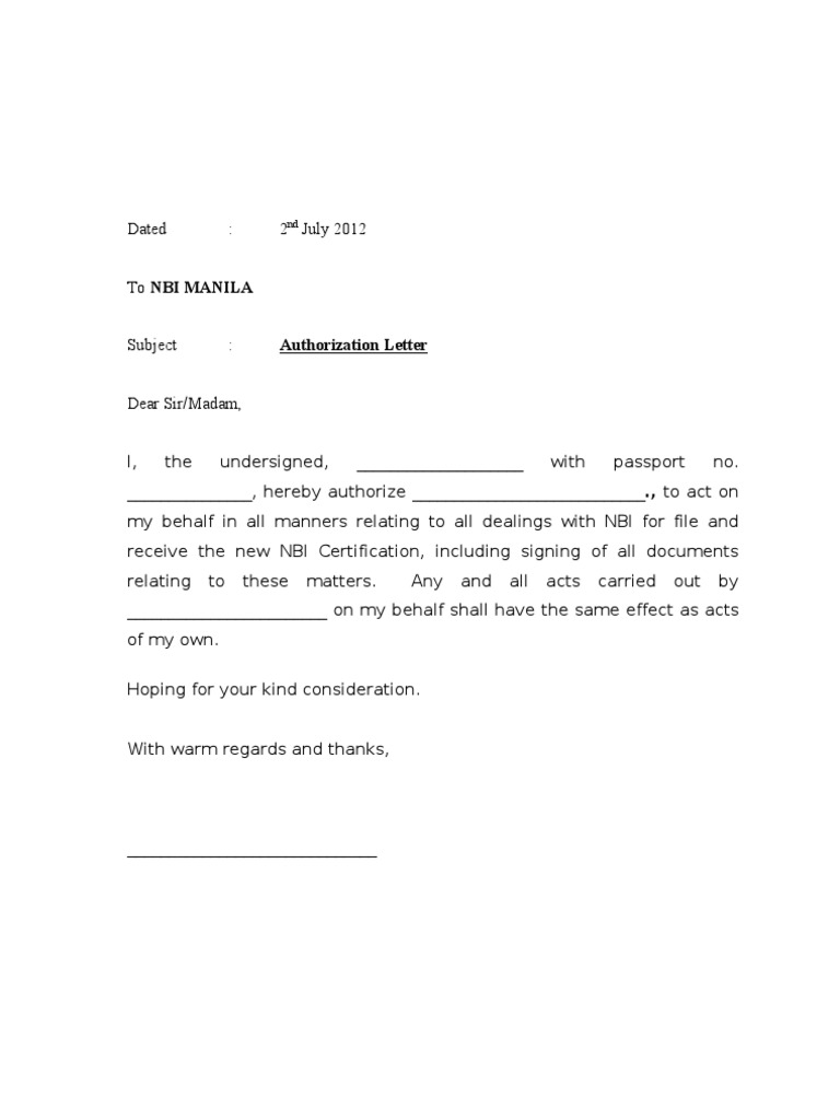 Authorisation Letter NBI
