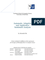 Automatic, Adaptive, and Applicative Sentiment Analysis