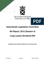 Subordinate Legislation Committee 9th Report, 2012 (Session 4)