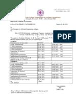 Academic Calendar for B.tech B.pharamcy