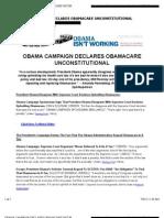 Obama Campaign Declares Obamacare Unconstitutional