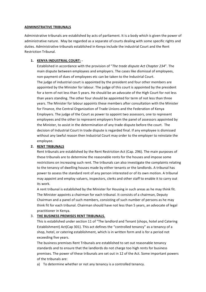 Administrative Tribunals Leasehold Estate Landlord