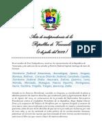 Acta de la independencia de Venezuela del año 2012