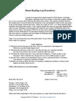 Home Reading Log Procedures