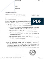 Satyam CEO - Letter to Board of Directors