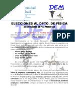 Nota Informativa Elecciones a Física