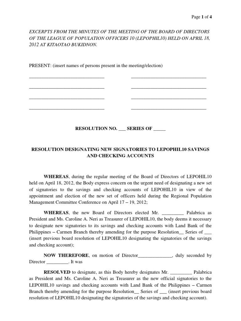 Board Resolution LEPOPHIL10 Change Of Signatories | Signature | Board Of  Directors