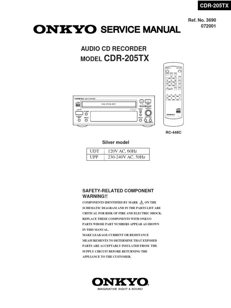 Onkyo Cdr 205 Compact Disc Laser