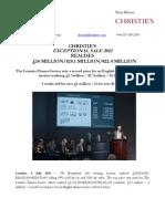 Christie's  Exceptional Sale 2012  Realises  £18 Million/$28.1 Million/€22.4 Million