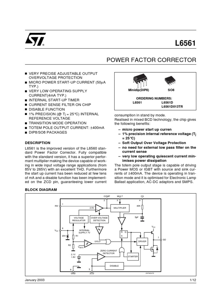 5109 Power Factor Corrector Amplifier Electronics Icl7135 Typical Application Schematic Diagram And Datasheet