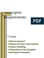 Sea Import Requirements