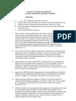 Health Sciences Admission Criteria 2012