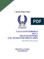 Hall Manly - Claves Perdidas de La Masoneria