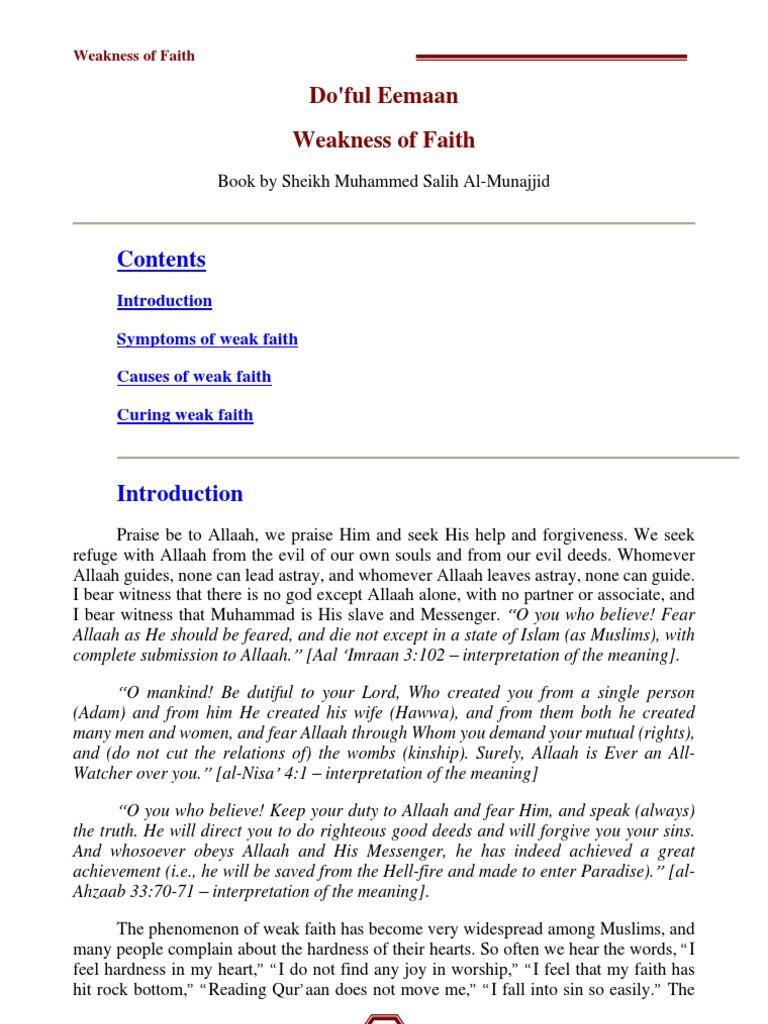 Weakness of Iman (Faith) Book by Sheikh Muhammed Salih Al