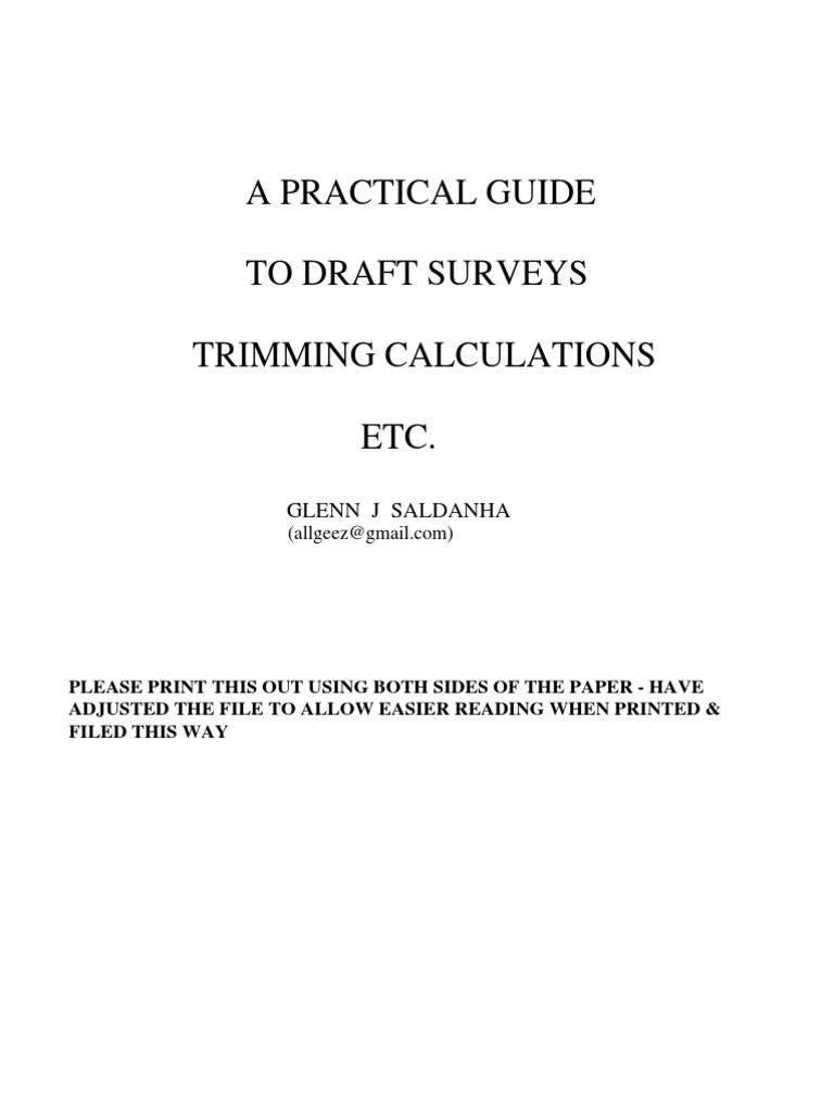 Practical Guide to Draft Surveys | Surveying | Ships