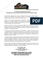 Carta del M4 de apoyo a Perú, caso Conga. #mineria
