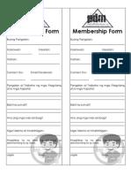 Partido Pagkakaisa ng Demokratikong Mag-aaral Membership Form