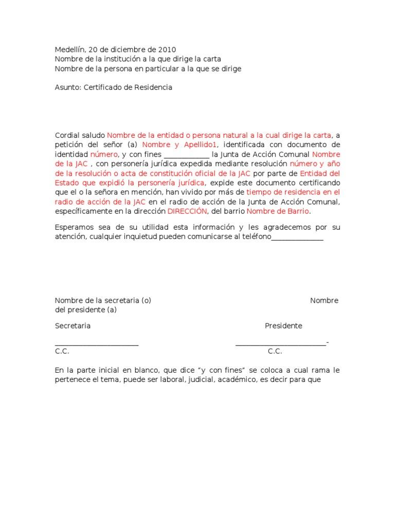 Modelo de certificado de residencia jac for Acta familiar