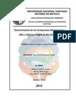 Laboratorio N° 08 - Determinación de los Determinación de los Compuestos Nitrogenados (NH₄ y NO₂) en el agua de Río Quillcay - copia