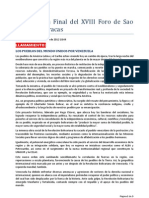 Declaratoria Final del XVIII Foro de Sao Paulo en Caracas