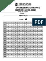 Aieee Paper 1 Key (Answer Key) 2012 Code A