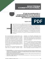 Burga Coronel, Angélica María. El test de ponderación en la jurisprudencia peruana (2011) 15 pp