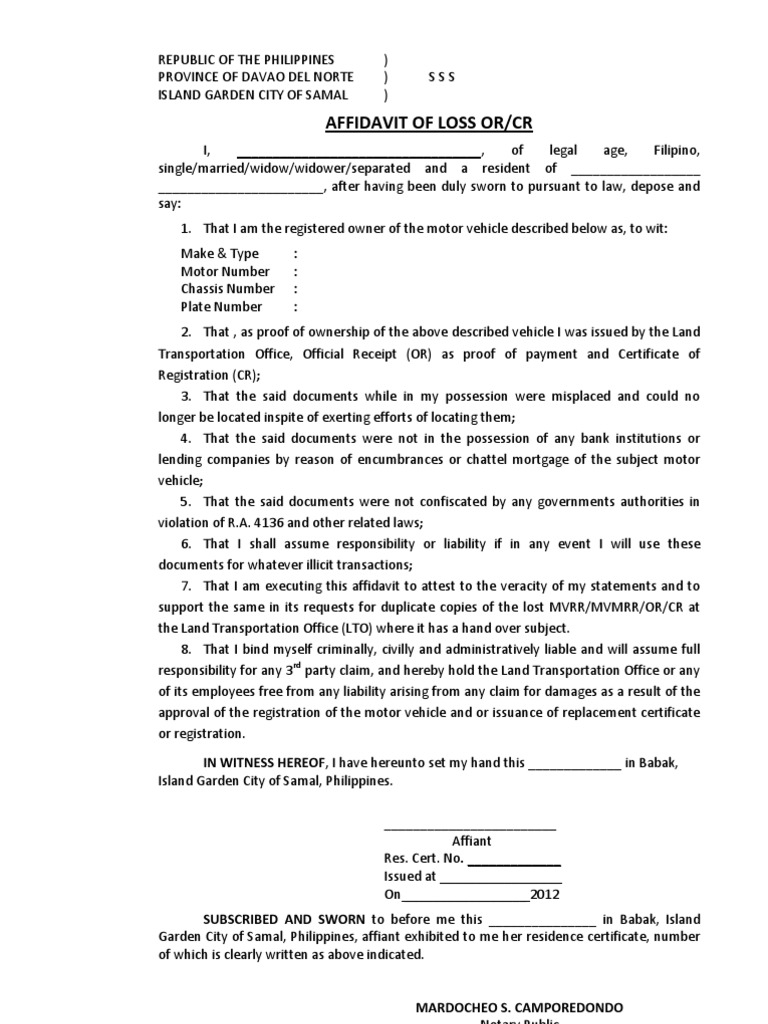 Of Format Affidavit Document For For Loss Affidavit Format Of LTO Loss ...