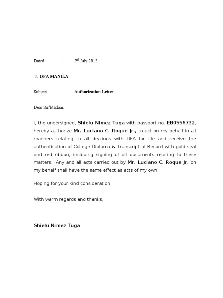 authorization letter sample for dfa red ribbon authorization letter dfa accredited passport processing