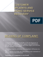 Customer Complaints And Service Recovery