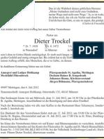 Todesanzeige Dieter Trockel