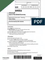 June 2012 Edexcel Economics Unit 4 paper