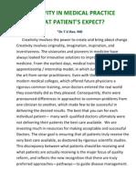 Creativity in Medical Training