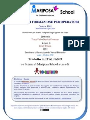 Mariposa School Training Manual Italiano Iocresco V2 3 Doc
