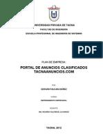 Plan Empresarial de Negocio Portal Web de Anuncios Clasificados