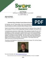 Scott Swope   News Advisory - 7/6/12