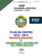 9.- ORGANIZACION Y DISTRIBUCIÓN DEL TIEMPO ESCOLAR