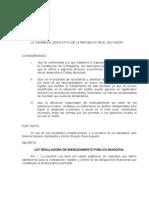 Ley Reguladora Endeudamiento Público Municipal