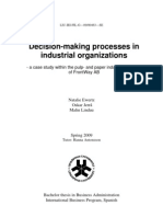 Decision Making Processes in Industrial Organizations_ a Case Study Within the Pulp and Paper Industry on Behalf of FrontWay AB