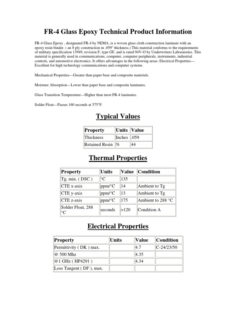 FR-4 Glass Epoxy Technical Product Information: Property
