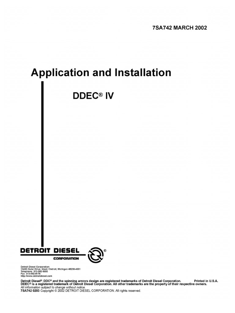 DDECIV Application & Installation Manual | Diesel Engine | Manual