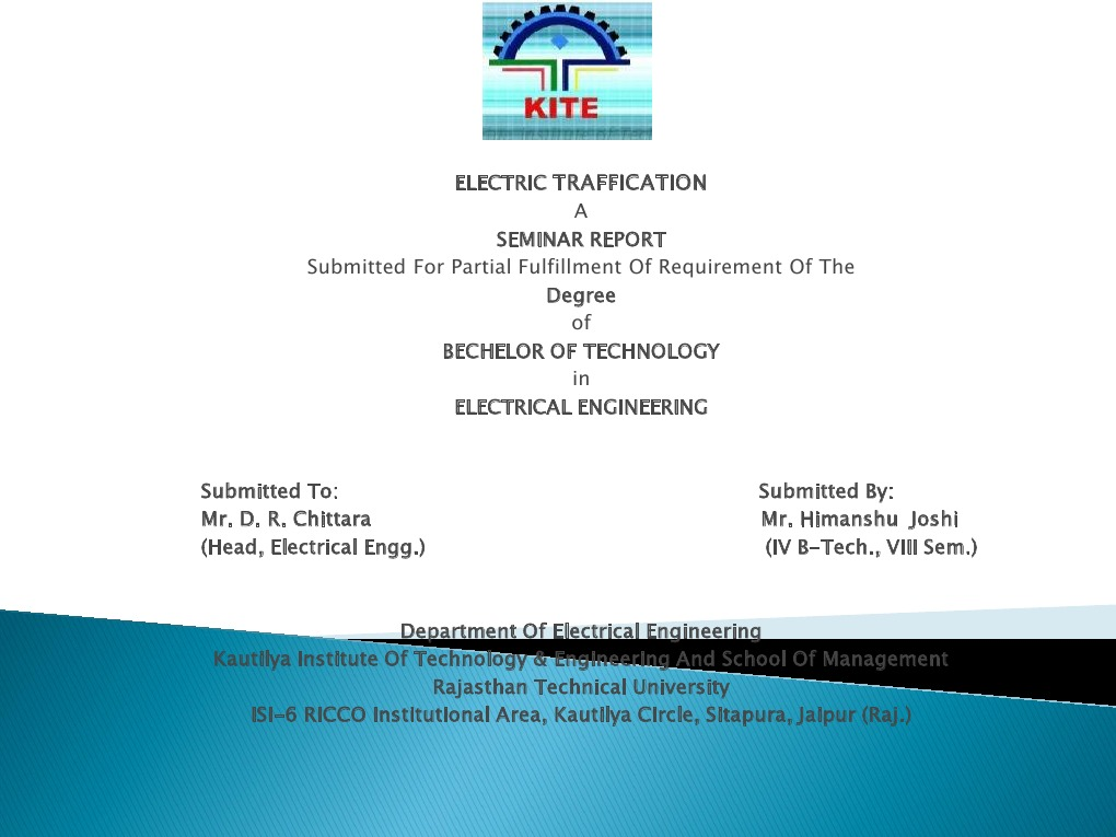 electric traffication  ppt | Vehicles | Electricity