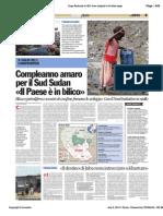 Avvenire - Sud Sudan, Paese in bilico, di Paolo M. Alfieri, 08/07/12