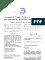 Relatório V- Aplicações Lineares do Amplificador Operacional