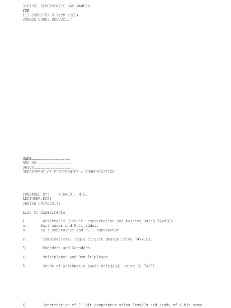 De Lab Manual Electronic Design Engineering 1 Bit Comparator Logic Diagram