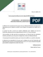 Communiqué de Guillaume Larrivé, député UMP de l'Yonne - Affaire Merah