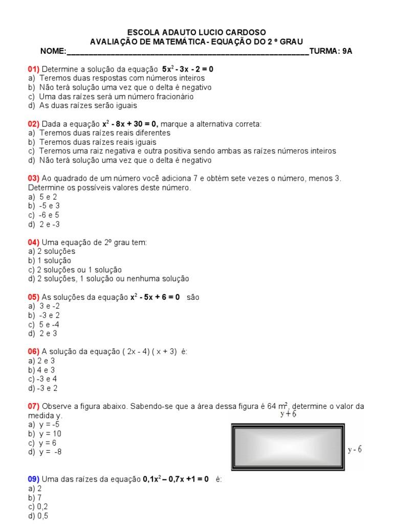 Prova Equacao De 2º Grau Equacoes Objetos Matematicos